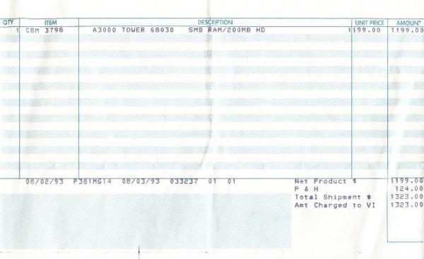 Receipt for my A3000T