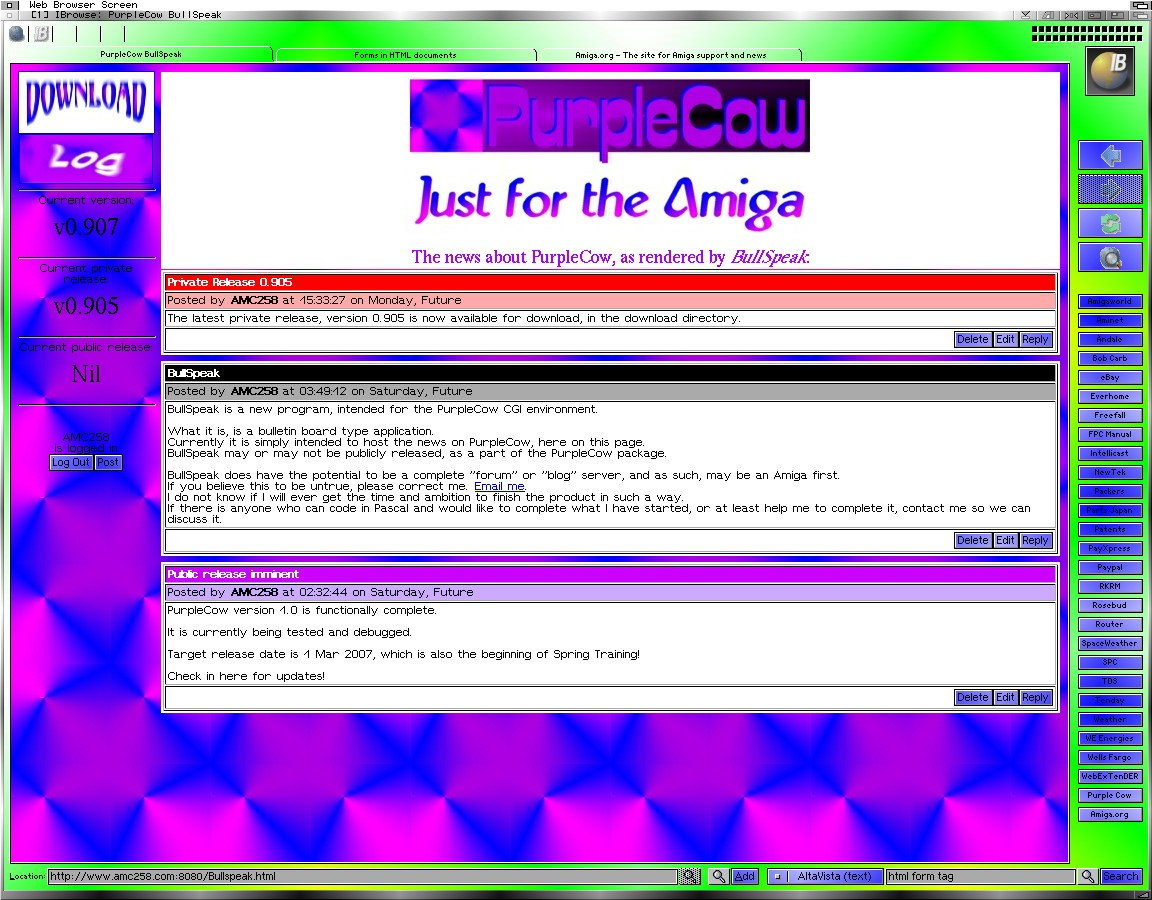 Not my Workbench Screen, but my Web Browser Screen. (AMC258)