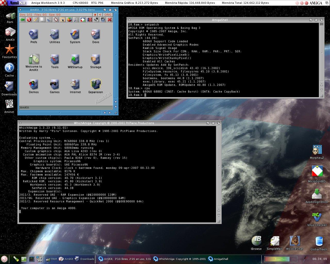 Amikit with Winaue emulating 68060