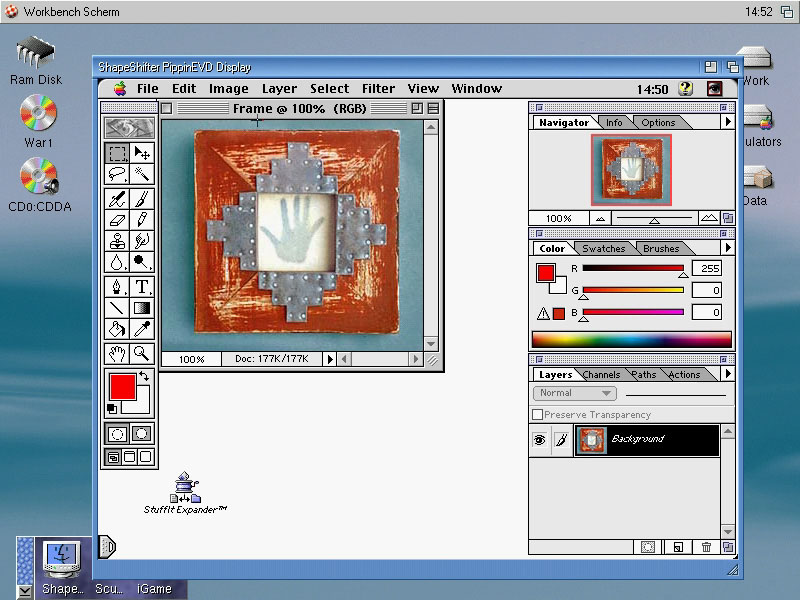 OS3.9 running ShapeShifter with Photoshop 4.0.1