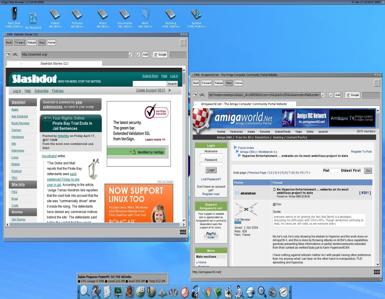 Browsing Slashdot and AmigaWorld with MorphOS OWB 1.2
