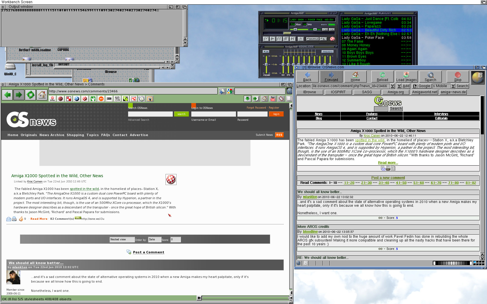 NetSurf 68K and IBrowse 2.4 showing the same page